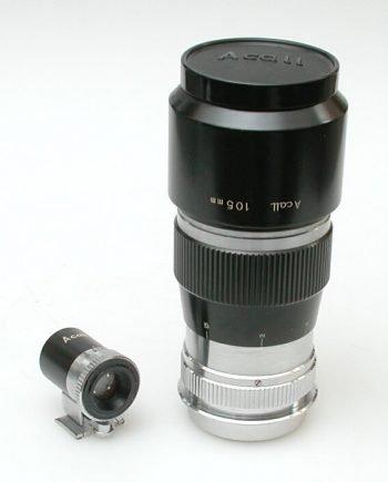 Kyoei Acall 3,5/105mm met zoeker en zonnekap